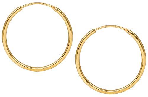Jukserei Damen Ohrringe Hoop Earrings Gold - Creole Silber vergoldet - JUK-ESM102g (Gold Ohrringe Hoop)