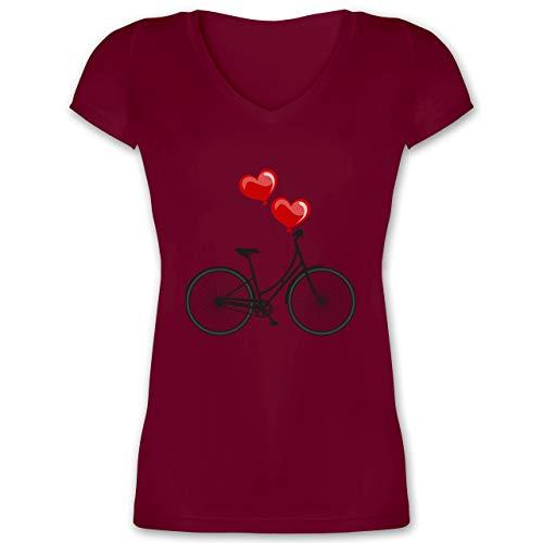 Statement Shirts - Fahrrad Herz Luftballons - 3XL - Bordeauxrot - XO1525 - Damen T-Shirt mit V-Ausschnitt