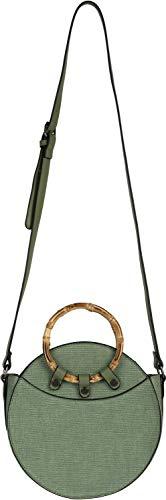 styleBREAKER Damen Runde Umhängetasche mit Bambus Henkeln und strukturierter Oberfläche, Schultertasche, Henkeltasche, Tasche 02012292, Farbe:Oliv -