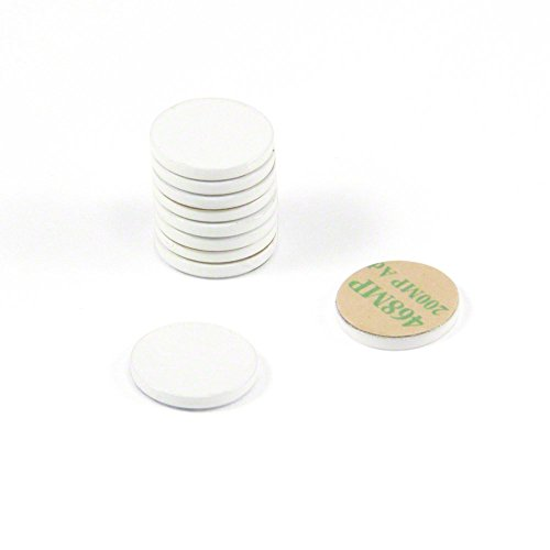first4magnetsTM 16mm Dia X 2mm dick weiß lackiert Stahl Disc mit 3M selbstklebend (10Stück) -