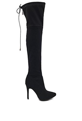 CHIC NANA . Chaussure Femme Cuissarde à Talon Aiguille en Nubuck, dotée d'un Bout Pointu, Lacet Tour de Genoux.