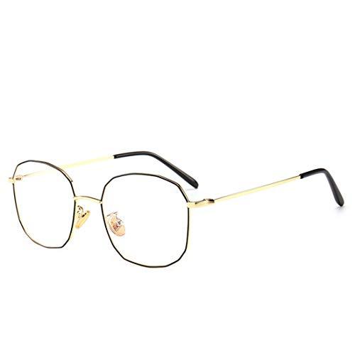 Chengduaijoer Metall unregelmäßige Retro-Brillengestell Nicht verschreibungspflichtige Brillen für Frauen (Color : Black-Gold)