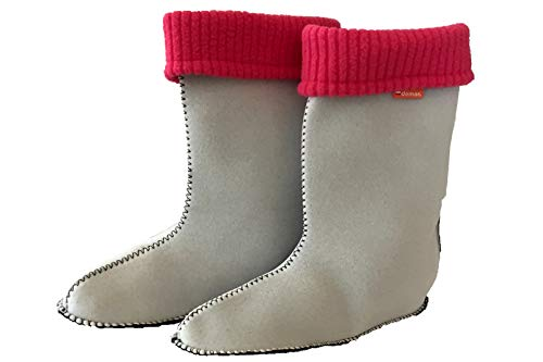 Stiefel Socken Innenschuhe Thermosocken für Regenstiefel DEMAR Kinder, Innenfutter für Gummistiefel, gefütter, stiefelsocken (32/33 EU, Rosa)