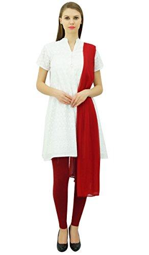 Atasi Baumwolle Gerade Weiss Bestickte Designer Tunika Anzug Salwar Set Dress-44 -