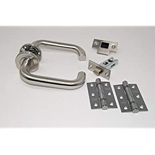 ArcWare Architectural Limited D Shape Lever Door Handle Latch Set with Hinges - Satin Stainless Steel