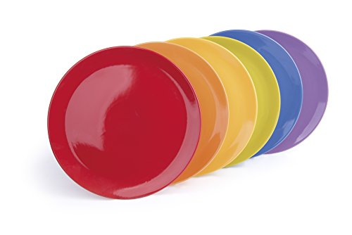 Excelsa Trendy Servizio 6 Piatti Pizza, Ceramica, Lilla/Rosso/Arancio/Giallo/Verde/Blu, 32x32x8 cm 6 unità