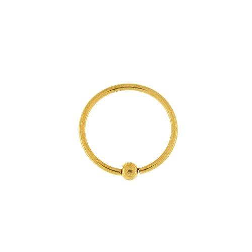 6MM Durchmesser - 20 Gauge Gold 316L chirurgischer Stahl Flexible Captive Bead Nase Piercing Ring
