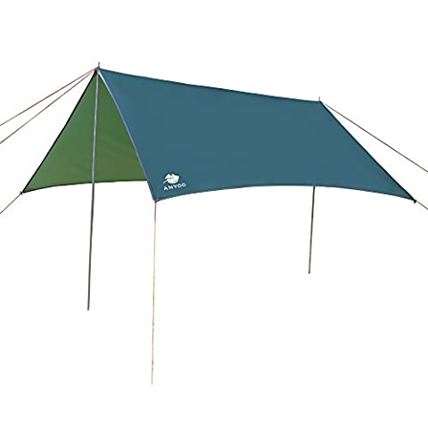 Anyoo Portable Ripstop Tarps Rain Fly Sunshade -3×3m Lightweight Waterproof Hammock Tarps ,Includes Poles and Stakes ,Good for Camping,Hiking&Backpacking