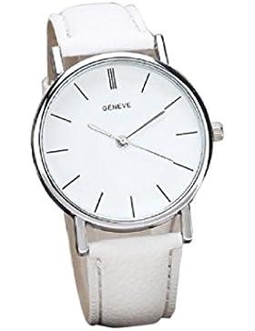 FEITONG Damenuhr Einzigartig Retro Design Kunstleder Band Analoge Quarz Armbanduhr Weiß