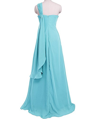 Fashion Plaza One Shoulder Bodenlang Chiffon Abendkleid Ballkleid Kristall D0173 Hell Blau