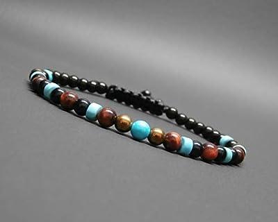 Bracelet homme, pierres naturelles, œil de tigre rouge, onyx, hématite cuivrée, howlite turquoise Ø 4 mm