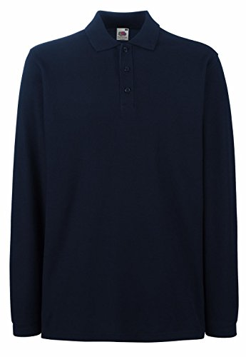 Fruit of the Loom Herren Poloshirt Premium Long Sleeve Polo Deep Navy