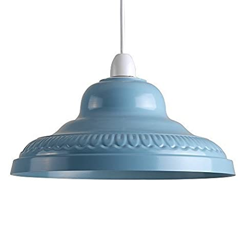 Vintage Retro Style Gloss Pastel Blue Metal Easy Fit Ceiling