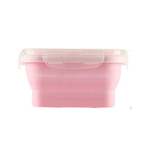 Faltbare Lunchbox, Square Silicone Collapsible Food Storage Container, wiederverwendbar, BPA Free Faltlunch Bento Box geeignet für Picnics, Homes, Schulen, Etc,Pink,350ml Square Food Storage Set