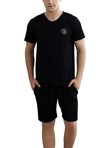 Ruishi Herren Baumwolle Shorty Schlafanzug Kurz Rundhals Pyjama Nachtwäsche Hausanzug, T-Shirt und Short 2-Teilig Set Gr. L-XXXL Schwarz