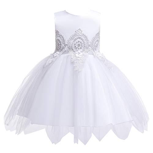 Livoral Mädchen Abendkleid Kinder Kinder ärmellose Blumenstickerei Tüll Prinzessin Kleid Kleidung(Weiß,80) -