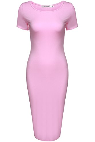 Meaneor Damen Dünnes Bodycon Bleistift Kleider Rundhals Kurzarm Etuikleid Casual Businesskleid Cocktailkleid Partykleid für Sommer Rosa