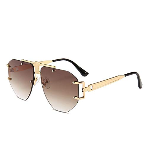 YYXXZZ Sonnenbrillen Herren Pilot Sonnenbrillen Damen Brillen Damen Randlose Sonnenbrillen, Schwarz-Braun
