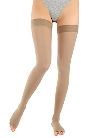 ®BeFit24 Medical Graduated Open Toe Compression Stockings (18-21 mmHg, 90 Denier, Class 1) for Men and Women - Best Support for Flight and Travel - DVT, Varicose and Spider Veins Prevention, Swelling Reduction - Beige