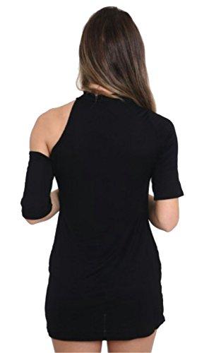 Friendz Trendz-Ladies Schädel-Rosen-kaltes Schnitt-Schulter-Mädchen druckte T-Shirt Kleid Black