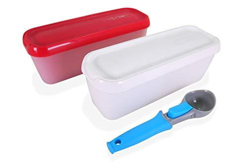 LIN Aufbewahrungsbehälter für Speiseeis mit Deckel 2 Stück + Eisportionierer - 1,5L rechteckiger Wiederverwendbare Eisbehälter für Gefrierschrank für hausgemachte Speiseeis, Sorbet und Frozen Joghurt