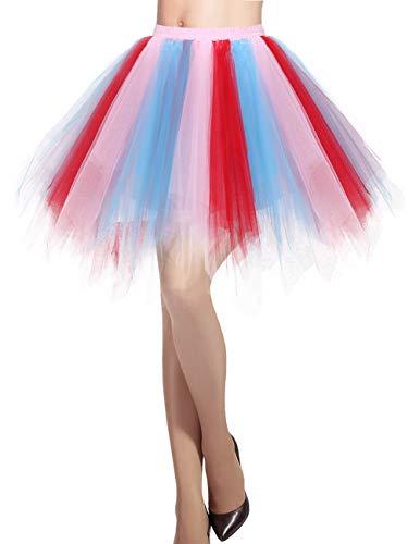 Dresstells Damen Tüllrock 50er Rockabilly Petticoat Tutu Unterrock Kurz Ballett Tanzkleid Ballkleid Abendkleid Gelegenheit Zubehör Blue-Champagne-red L