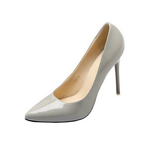 Evedaily Femme Escarpins Vernis Bout Pointu PU Cuir Sexy Talon Haut Aiguille Chaussures de Soiree Mariage Gris
