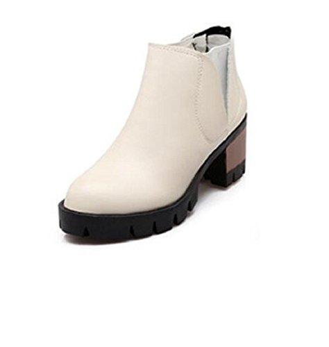 Shose di zeppa bassa casual donna rotonda testa elastico boots beige