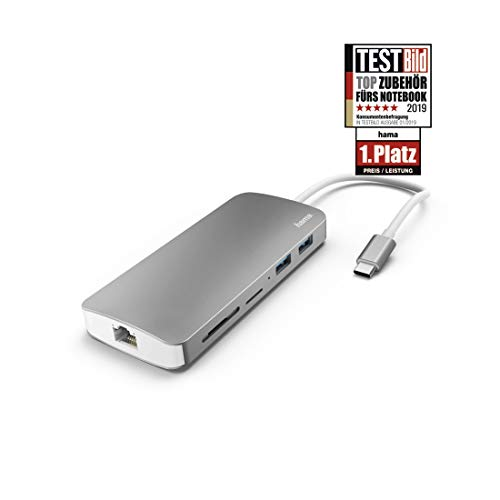 Hama 7in1 USB Type-C Docking-Station (2x USB-A 3.1, 1x USB-C/HDMI/LAN/SD/MicroSD, mit Ladefunktion, Ultra-HD, für PC/Mac/Laptop mit USB-C-/Thunderbolt 3-Anschluss, Aluminium, externer USB-Hub)