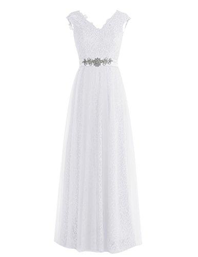 Dresstells Robe de soirée Robe de cérémonie en tulle dentelle forme empire longueur ras du sol Blanc