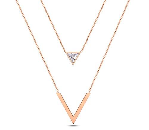 Halskette Vergoldet Y-Kette Multi-layer Kette Dreieck V Anhänger Damenkette Abendkleid Schmuck Rose Gold mit Weiß Zirkonia 39CM ()