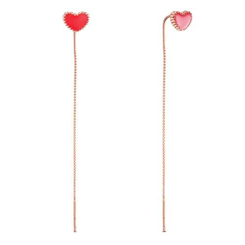 Sweetiee donna orecchini lunghi in argento 925, con ciondolo di cuore rosso, dorato, platino, oro rosa, tre colori disponibili, 70mm
