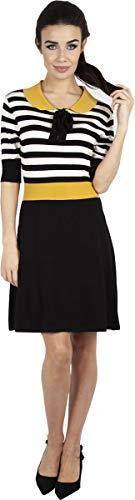 Voodoo Vixen Sofie Striped Flare Knit Dress Kurzes Kleid schwarz/weiß XL