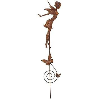 Rost Fee sitzend 60 cm mit Flügel Engel Elfe Deko Dekoration ...