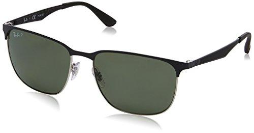 RAYBAN JUNIOR Unisex-Erwachsene Sonnenbrille RB3569, Silver Top Shiny Black/Darkgreenpolar, 59