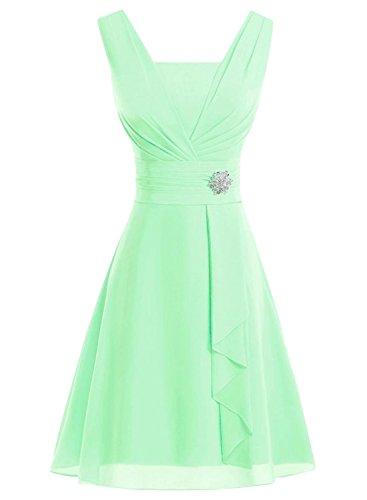 Azbro Women's Fancy Rhinestone Waist Ruffled Dress green