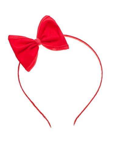 SETRINO Kinder Haarreif rot mit roter Schleife (8x6 cm) (50er Frisur Jahre)