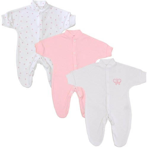Preemie Girls Sleepsuits 3.5 - 5.5 Lbs, Pack Of 3