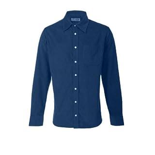 Alexanders of London Ed Baxter Fine Corduroy Long Sleeve Shirt Petrol Blue - Size XL