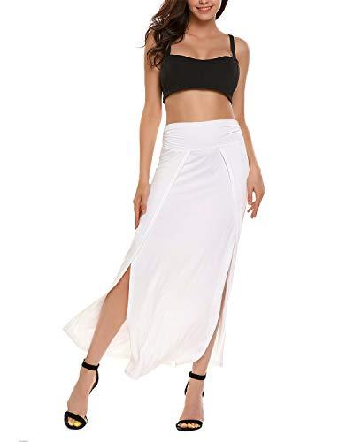 VONDA Damen Lange Rock Hohe Taille Sommerrock Slim Fit Maxirock Seiten Schlitz Kleid Weiß L Weiße Kleid Rock