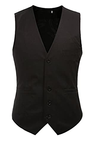 DD.UP Men's Slim Basic Solid Color Wedding Dress Vest Waistcoat Blazer Black UK L = Asia 3XL/Chest:39.37