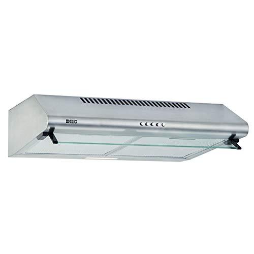 NEG Dunstabzugshaube NEG15-ATRS (silber) Edelstahl-Unterbau-Haube (Abluft/Umluft) und LED-Beleuchtung (60cm) Unterschrank- oder Wandanschluss