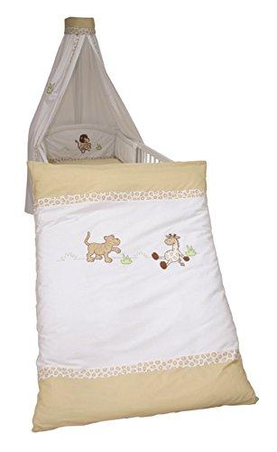 roba Kinder-Bettgarnitur 4-tlg, Babybett-Ausstattung 'Safari', Bettset mit Applikation, Bettwäsche 100x135 (Decke & Kissen), Nestchen, Himmel (Safari Bettbezug-set)