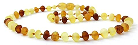 Unpolished Amber Necklace - 32 cm Length - Multicolor -