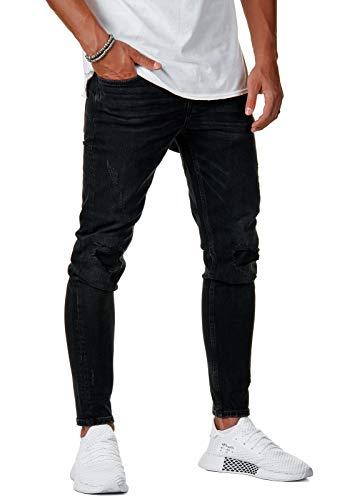 Herren Destroyed Jeans-Hose Slim Fit Zerrissen Denim Schwarz BR215, Farbe:Schwarz, Hosengröße:W32 L32