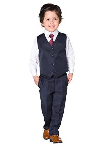 Shiny Penny Boys Navy Suit, Boys Waistcoat Suit, Page Boy Suits, 3-6 Months - 8 Years