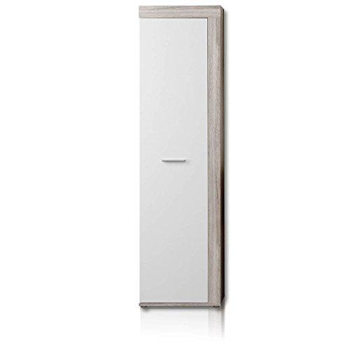 NEWFACE  Kleiderschrank, Holz, Sandeiche Dekor/Weiß, 53.40 x 28.90 x 198.40 cm