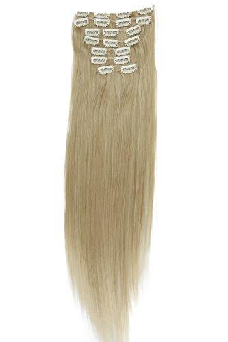 Prettyshop xxl set 8 pezzi clip nelle estensioni estensione dei capelli parte dei capelli fibra sintetica termoresistente liscio 60 cm bionda mix # 25t613 ces7