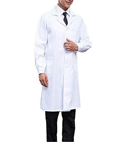 Cotone//Poliestere Camice Bianco medico camice da laboratorio Uomo Taglia S studente medicina ospedale