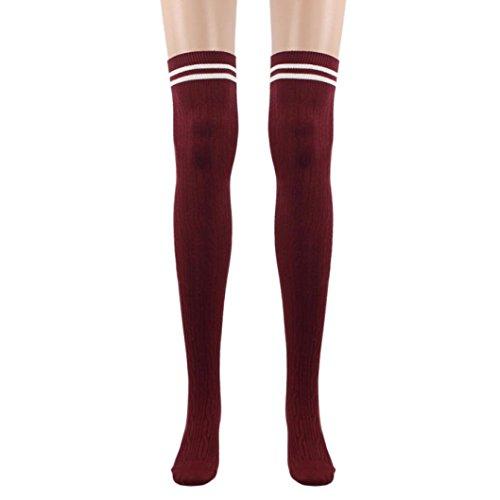 TWIFER Mädchen College Wind Oberschenkel Hohe Socken Damen Strümpfe über das Knie Baumwollsocken (Rot, 60cm/23.63